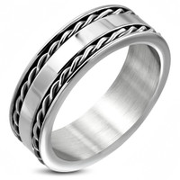 8mm Stainless Steel Celtic Curb Cuban Link Flat Band Ring