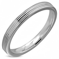 3mm Stainless Steel Grooved Comfort Ft Flat Band Ring