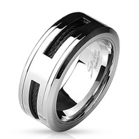 Personalized Black Cable Centered Stainless Steel Ring