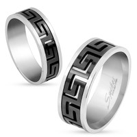Personalized Cut Out Maze Black IP Center Stainless Steel Ring
