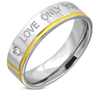 Stainless Steel 2-tone Affirmation-Love Comfort Fit Band Ring