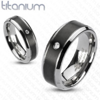 Classic Beveled Edge with Black Center Solid titanium Ring