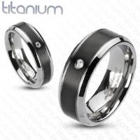 Classic Beveled Edge with Black Center Solid titanium Ring