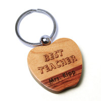 Personalized Dual tone Wood Apple Shape Keychain