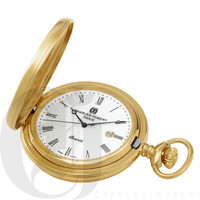 Gold-Plated Hunter Case Quartz Pocket Watch by Charles Hubert