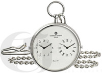 Personalized Charles-Hubert Paris Dual Time Quartz Pocket Watch
