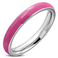 3.5mm Stainless Steel Pink Enameled Comfort Fit Half-Round Ring