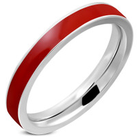 3.5mm Stainless Steel Red Enameled Comfort Fit Flat Band Ring