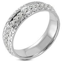 6mm Stainless Steel Eternity Comfort Fit Wedding Band Ring