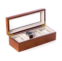Cherry Wood 4 Watch Box with Glass Top - Free Engraving