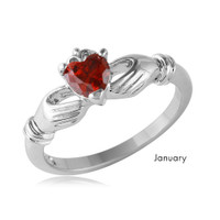Sterling Silver Rhodium Plated CZ Center Birthstone Claddagh Ring