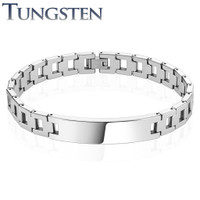 Personalized Hollow Square Chains Tungsten Carbide ID Bracelet