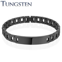 Hollow Square Chains Black IP Over Tungsten Carbide ID Bracelet