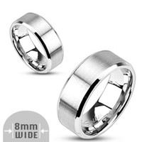8mm Stainless Steel Ring Brushed Center With Beveled Edge