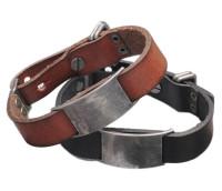 Personalized Genuine European Leather Men ID Bracelet