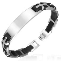 Stainless Steel with Rubber Cross Bracelet