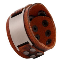 Genuine Brown Leather Wide Cuff Punk Style Bracelet