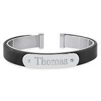 Personalized Stainless Steel with Leather Cuff Bracelet for Men
