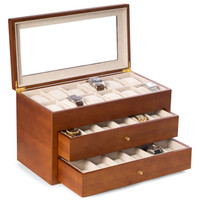 Personalized Cherry Wood 36 Watch Box with Glass Top