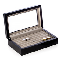 Personalized Black Wood Cufflink Box with Glass Top