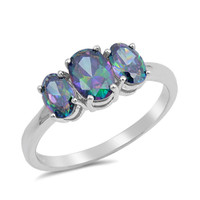 Personalized Sterling Silver with Rainbow Topaz Ring