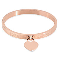 Quality Stainless Steel Bangle Bracelet With Heart Charm