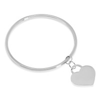 Personalized Quality Bangle Bracelet with Heart Charm