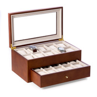 Personalized Cherry Wood 20 Watch Box with Glass Top & Drawer