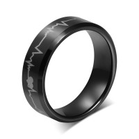 "Personalized Stainless Steel Black HeartBeat of Love"" Ring"