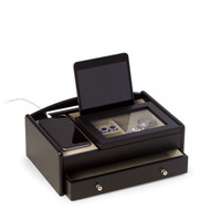 Personalized Matte Black Wood Valet Box With Glass Lid