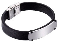 Personalized Quality Stainless steel ID Bracelet with Leather