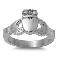 Stainless Steel Claddagh Ring with CZ