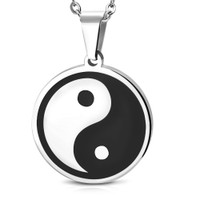 Personalized Stainless Steel 2-Tone Yin-Yang Pendant with Chain