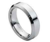 Tungsten Carbide Ring High Polish Beveled Edge 6mm