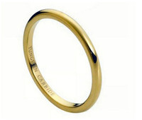 Tungsten Carbide High Polish Yellow Gold Plated Thin Band 2mm