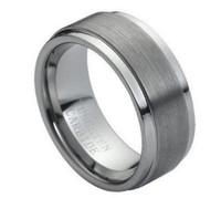 Tungsten Carbide Brushed Center Stepped Edge 9mm