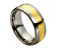 Tungsten Carbide Gold Plated Shiny Center 8mm
