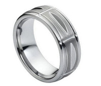 Tungsten Carbide High Polish Multiple Vertical Grooves 8mm