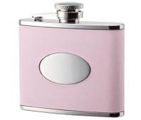 4 oz. Pink Leather Wrapped with Oval Convex Stainless Steel Flask