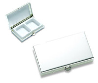 Personalized Matte Silver 2 Compartment Rectangle Pill Box