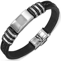 Stainless Steel With Rubber Quality Bracelet