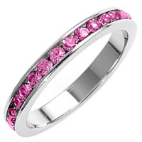 Sterling Silver Eternity Ring with Pink Cubic Zirconia