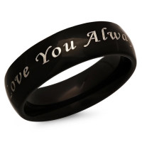 Love You Always Stainless Steel Black Promise Ring