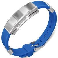 Personalized Watch Style Blue Rubber Bracelet