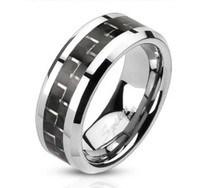 Stainless Steel Band Ring with Black Carbon Fiber Inlay