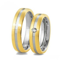 Personalized Two Tone Stainless Steel Comfort fit Band Set