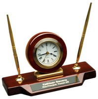 Piano Finish Desk Clock on Base with 2 Pens