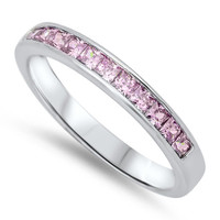 3 mm Genuine Sterling Silver Ring with Pink Cubic Zirconia