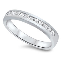 Personalized Genuine Sterling Silver Ring with Clear CZ