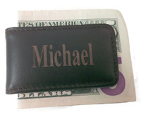Personalized Genuine Brown Leather Magnetic Money Clip
